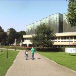 Rückseite Stadthalle mit Teich (vorher)